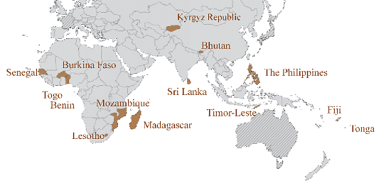 Map showing the countries sponsored to attend the training program